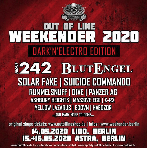 Out of Line Weekender 2020 – Lido & Asta Kulturhaus Berlin – 14. – 16.05.2020